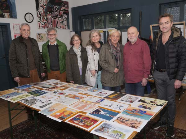 Hilden Cartoon Biennale Jury at work Members of Jury Walter Janeck, Andreas Hauswirth, Karin Machan, Monika Medam, Hildegard Skirde, Friedel W. Warhus and Christof Gemeiner